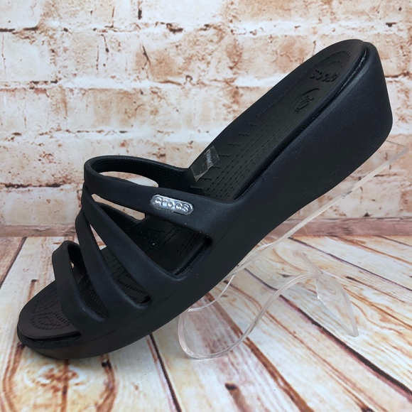 6f0fa0ccf1dc CROCS Shoes - CROCS Rhonda Women s 8 Black Wedges Slides Sandals